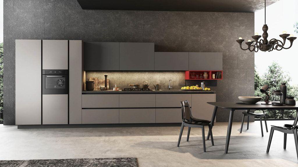 Cucina Moderna Lineare Grigia -