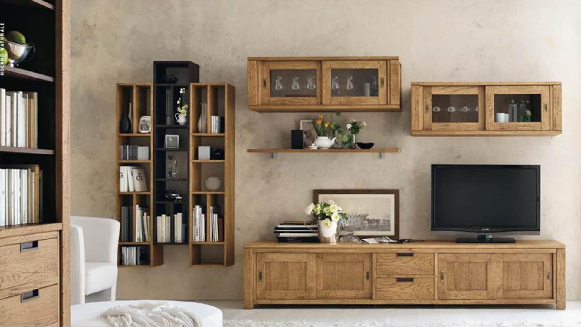 Mobili per soggiorno in legno arredamenti meneghello - Mobili per tv in legno ...