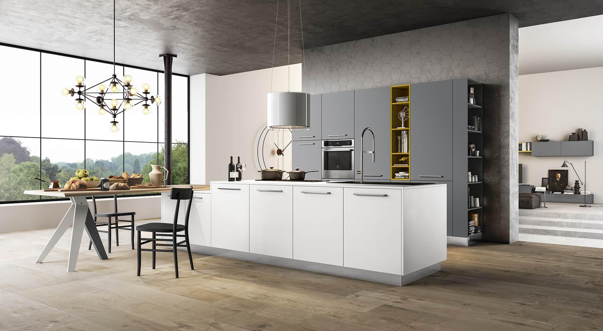 progetto cucina artematica vitrum valcucine con rendering. soggiorno ...