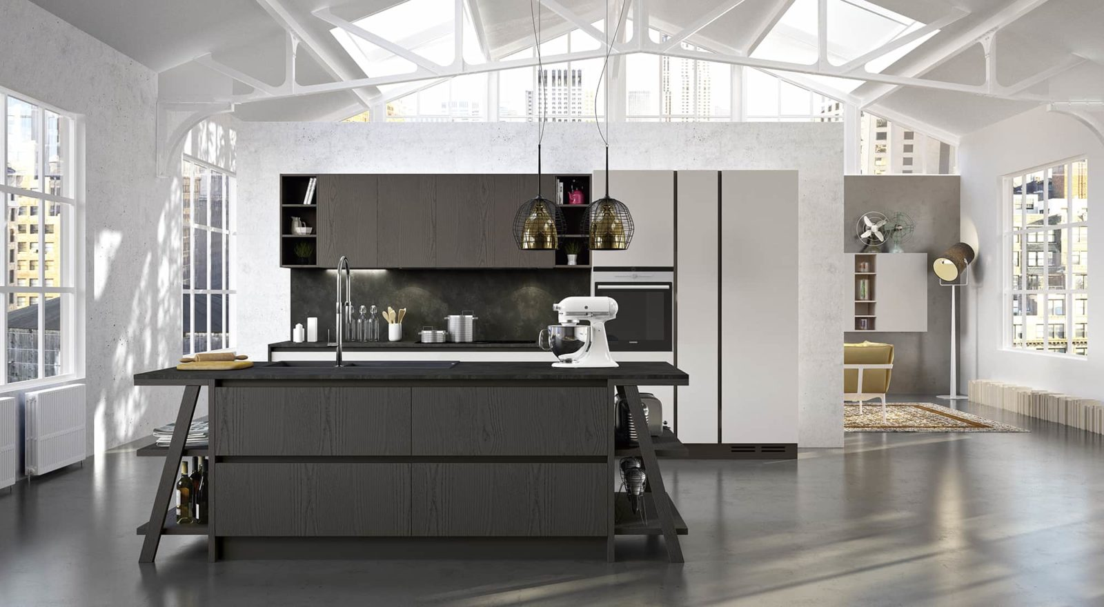 Cucina moderna con isola arredamenti meneghello - Cucina moderna oro ...