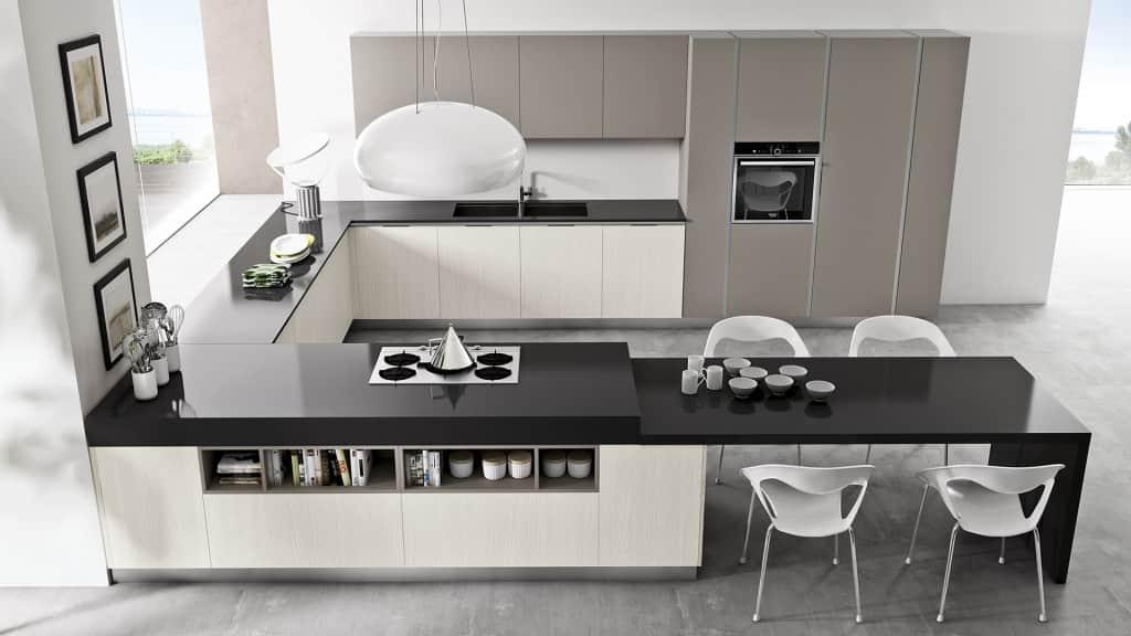 Cucina moderna con penisola ad angolo arredamenti meneghello - Cucina moderna ad angolo ...