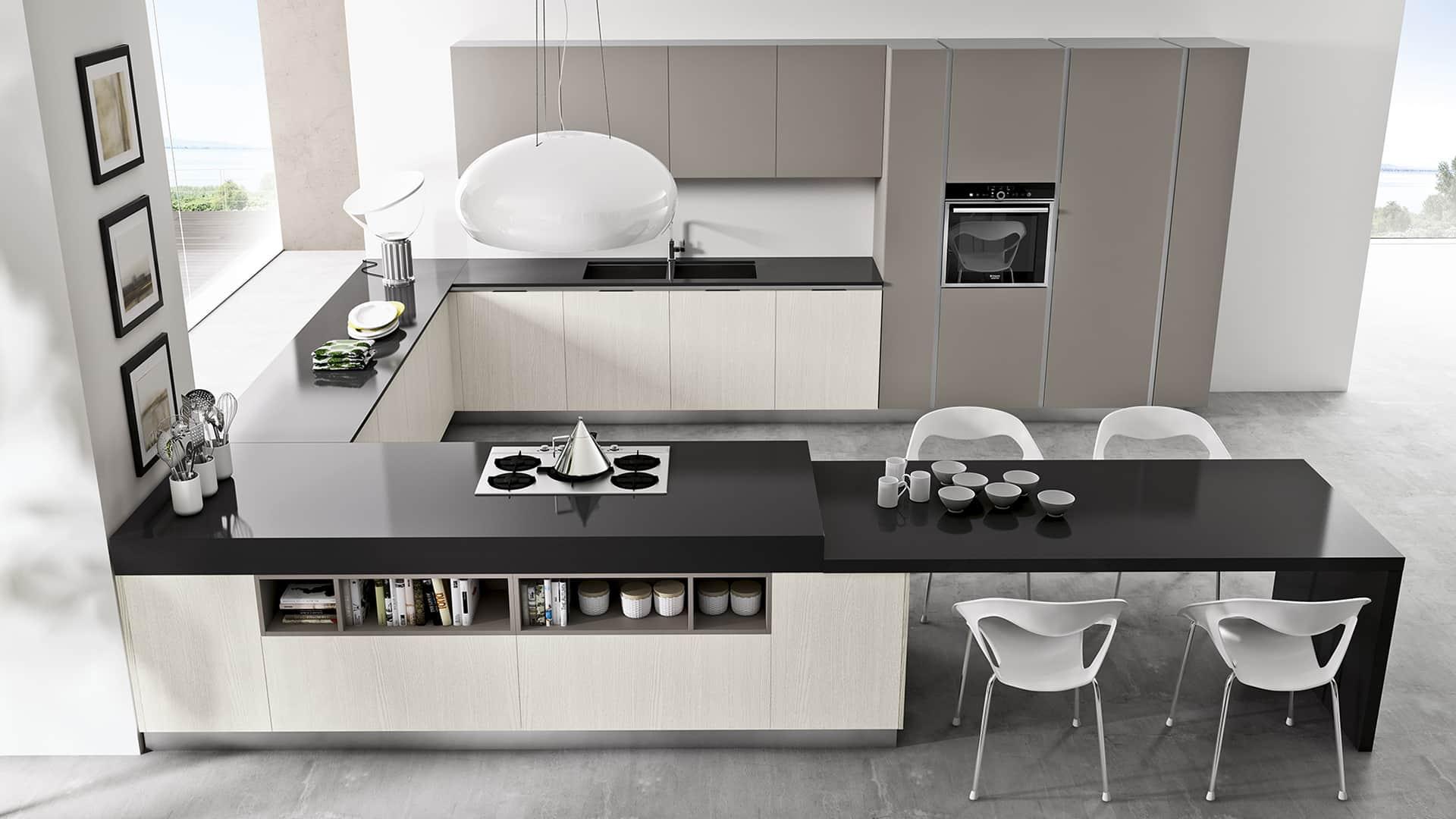 Cucine angolari moderne a padova - Cucina moderna con penisola ...