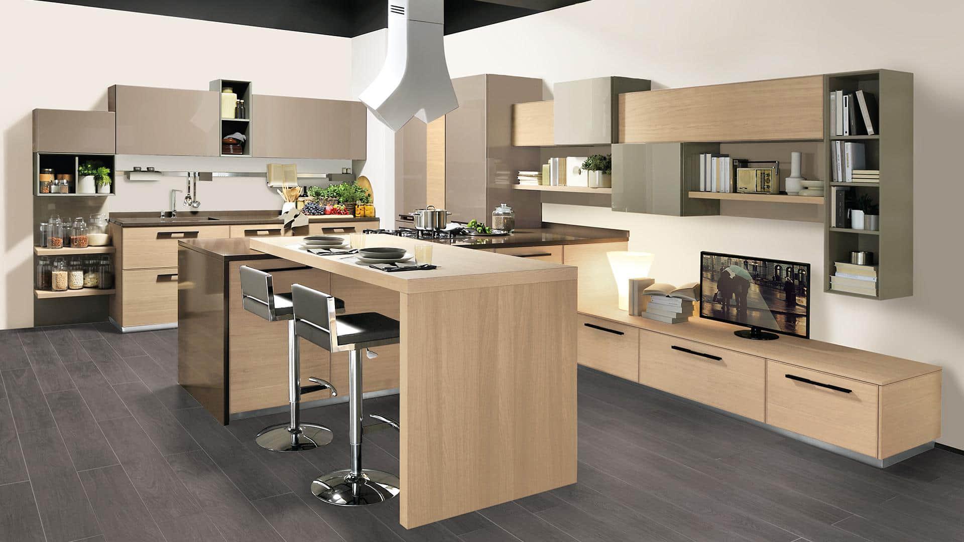 Cucina Moderna Open Space Con Penisola Arredamenti Meneghello