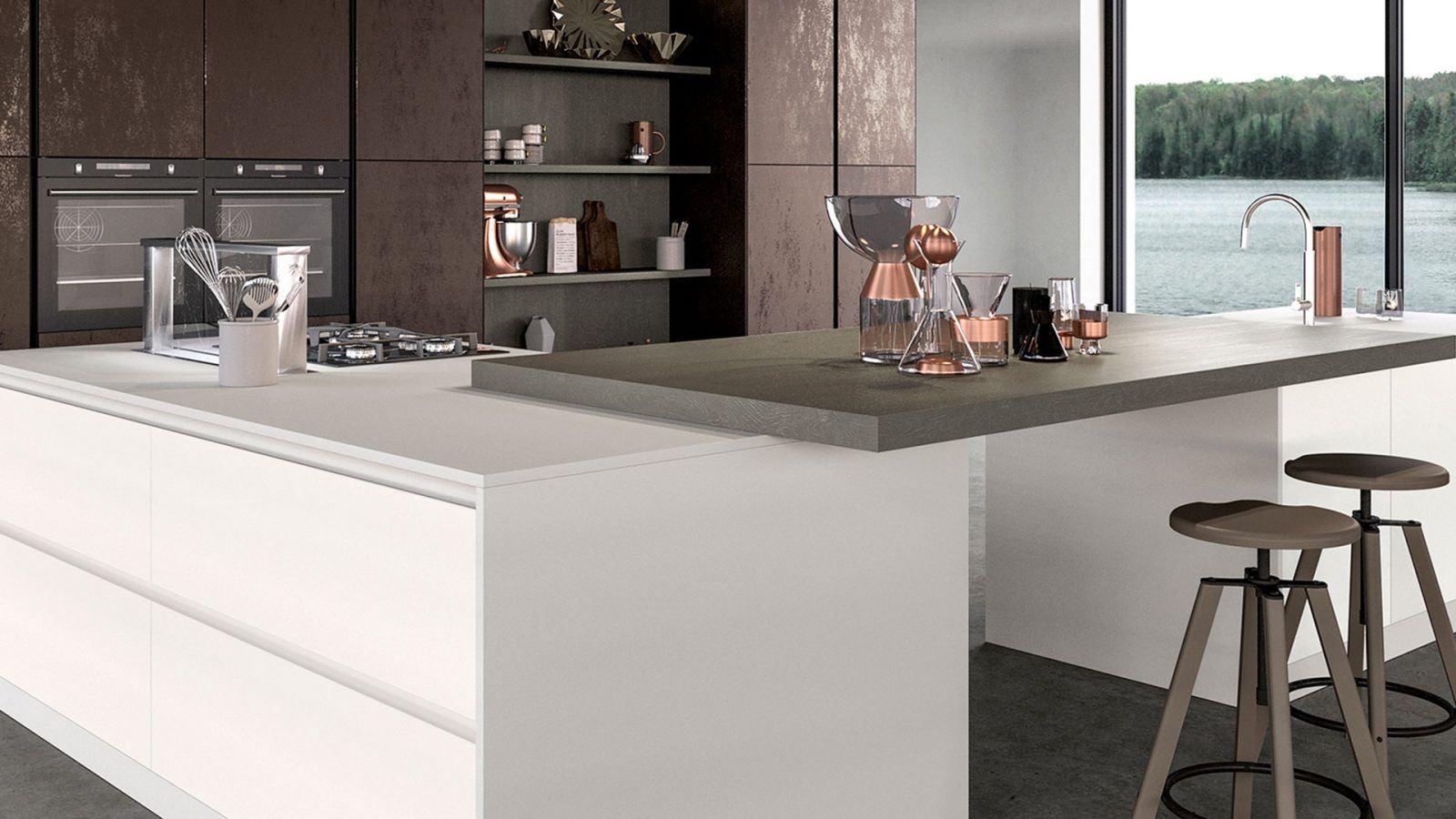 Cucine Su Misura Brescia cucina moderna lineare con colonna forno metri completa di